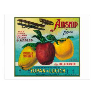 Luftschiff-Apple-Kiste LabelWatsonville, CA Postkarte