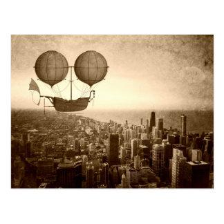 Luftschiff über Chicago Postkarte