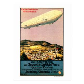 Luftschiff Zeppelin-Luftschiff über Stadtplakat Postkarte