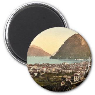 Lugano, allgemeine Ansicht, Tessin, die Schweiz Runder Magnet 5,7 Cm