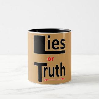 Lügen oder Wahrheit Zweifarbige Tasse