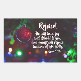 Luke-1:14 freuen sich! Er ist eine Freude, Rechteckiger Aufkleber