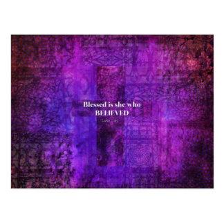 Luke-1:45 Blessed ist sie, die glaubte Postkarte