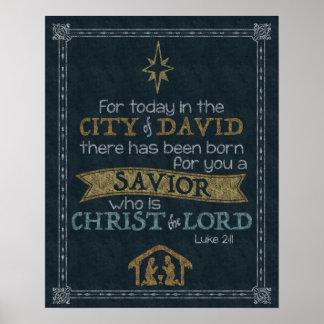 Luke-2:11 Tafel-Kunst 16x20 Poster