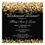 Lumières d'or de dîner de répétition de mariage invitations personnalisées