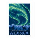 Lumières du nord - parc national de Denali, Alaska Cartes Postales