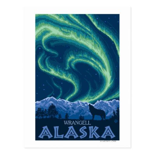 Lumières du nord - Wrangell, Alaska Carte Postale