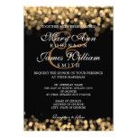 Lumières élégantes d'or de mariage cartons d'invitation personnalisés