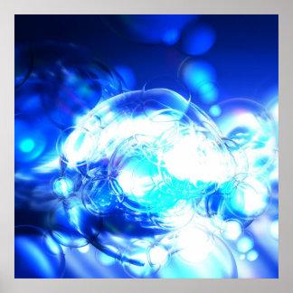 Lumières et effets bleus d'impression d'affiche d' poster