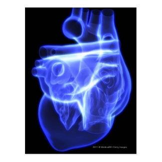 Lumineszenzansicht des menschlichen Herzens Postkarte