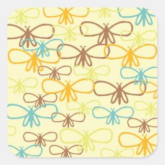Lunatique papillons libellule de schéma sticker carré