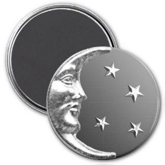 Lune d'art déco et étoiles - gris/gris et argent magnets pour réfrigérateur