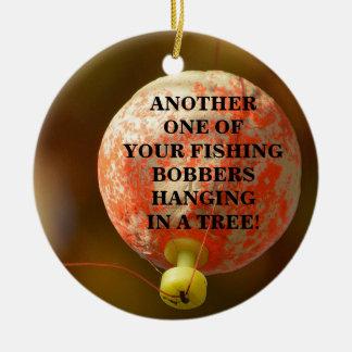 Lustig Ihr FischenBobber, der in einem Baum hängt Keramik Ornament