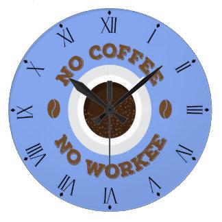 Lustig kein Kaffee keine Arbeits-Küchen-Wanduhr Große Wanduhr