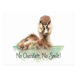 Lustig, keine Schokolade, kein Lächeln, verärgerte Postkarte