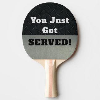 Lustig klatschen Sie Gespräch, das Sie gedientes Tischtennis Schläger