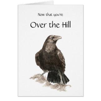 Lustig, über dem Hügel, Geburtstag mit Raben Karte