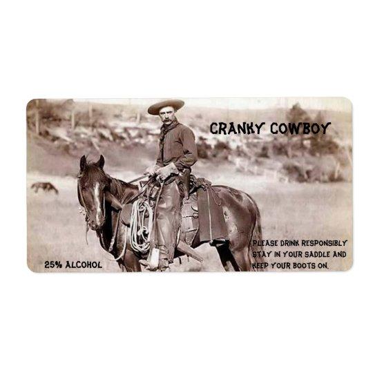 Lustig, Vintag, Cowboy, kundenspezifischer Großer Adressaufkleber