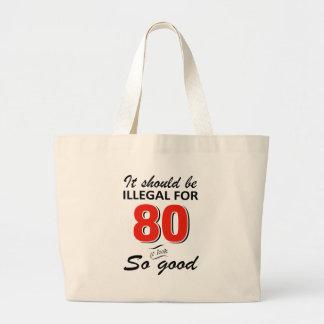 Lustige 80. jährige Geburtstagsentwürfe Jumbo Stoffbeutel