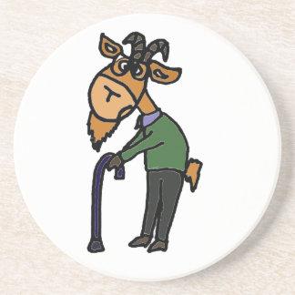 Lustige alte Ziegen-ursprünglicher Kunst-Cartoon Sandstein Untersetzer