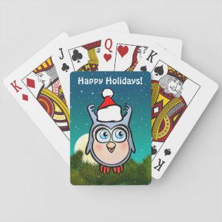 Lustige Baby-Eule mit Weihnachtsmannmütze Spielkarten