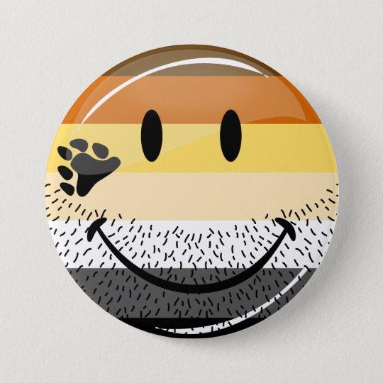 Lustige bärtige glückliche homosexuelle runder button 7,6 cm