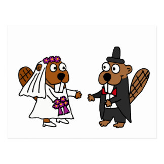 Lustige Biber-Braut-und Bräutigam-Hochzeit Postkarte