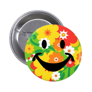 Lustige Blumen-Powertapete u. -smiley Runder Button 5,1 Cm