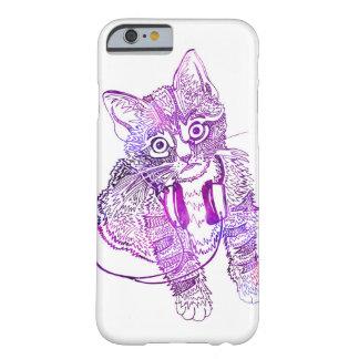 Lustige bunte Katze in der Kopfhörerillustration Barely There iPhone 6 Hülle