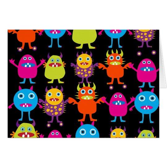 Lustige bunte Monster-Party-Geschöpf-Charaktere Mitteilungskarte