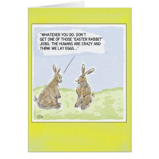 Lustige Cartoon-Ostern-Kaninchen-Karte Grußkarte