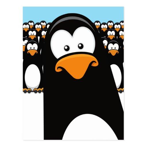 Lustige Cartoonpenguins-Postkarte