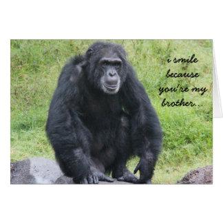 Lustige Chimapanzee Geburtstagskarte für Bruder Grußkarte