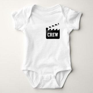 Lustige Crew-Typografie Schwarz-weißes Baby Strampler