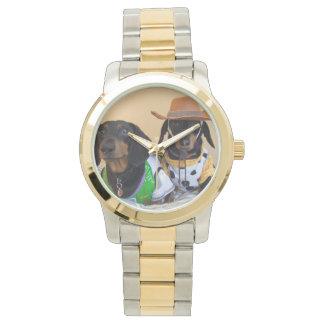 Lustige Dackel - Hundecowboy Armbanduhr