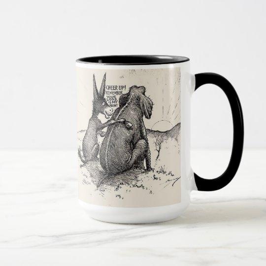 Lustige demokratische Tasse mit Esel u. Elefant