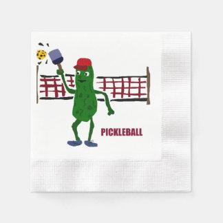 Lustige Essiggurke, die Pickleball Kunst-Entwurf Papierserviette