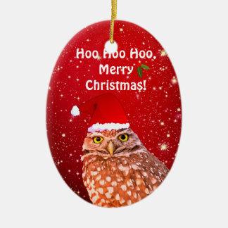 Lustige Eulen-Weihnachtsverzierung mit Keramik Ornament