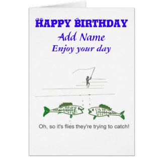 Lustige Fliegen-Fischen-Geburtstags-Karte Grußkarte