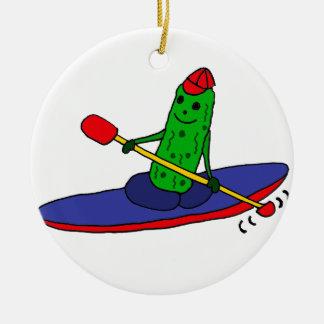 Lustige flippige Kayaking Essiggurke Keramik Ornament