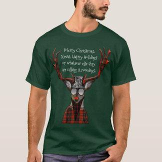 Lustige frohe Weihnacht-Hipster-Rotwild T-Shirt