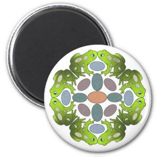 Lustige Frosch-Mandala Runder Magnet 5,1 Cm