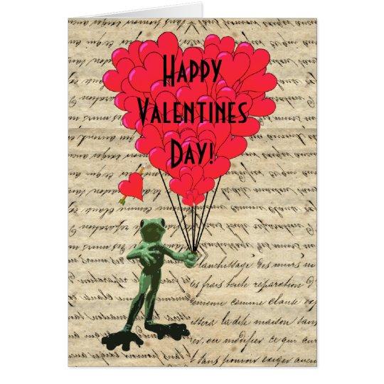 Lustige Frosch und Herz Valentinsgrüße Grußkarte