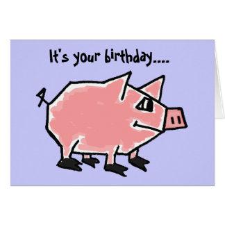 Lustige Geburtstags-Karte des Schwein-CW Karte