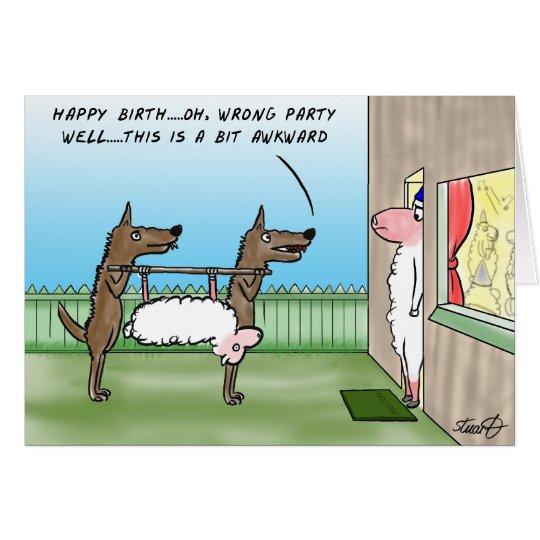 Lustige Geburtstags-Karte mit Wölfen und einem Karte