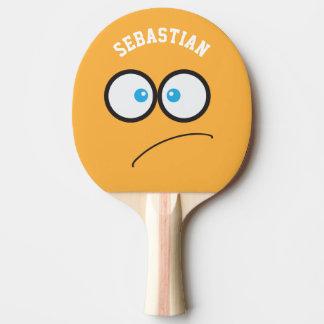 Lustige gelbe Gesichts-Neuheits-personalisierter Tischtennis Schläger