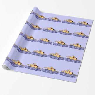 Lustige gelbe Labrador-Schwimmen Geschenkpapier