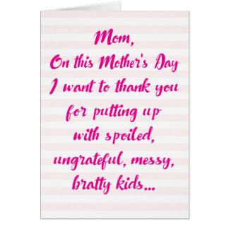 Lustige Geschwister Diss Mutter-Tageskarte Karte