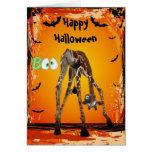 Lustige Giraffen-u. Spinnen-Halloween-Karte