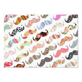 Lustige Girly bunte Muster-Schnurrbärte 12,7 X 17,8 Cm Einladungskarte